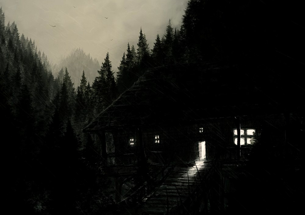 image of a dark house surrounded by trees scary real life stories
