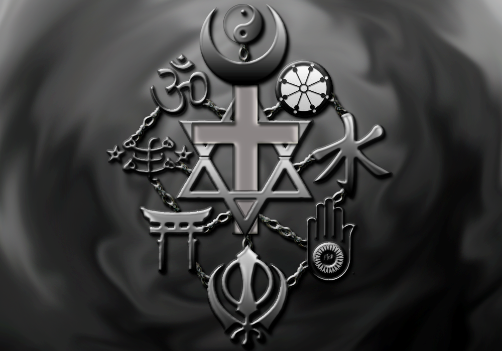 image of symbols from all religions fear pyschology