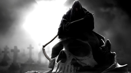 image of a dark robes grim reaper