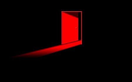 red ghost door